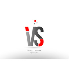 Red grey alphabet letter vs v s logo combination vector
