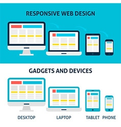 Responsive Web Design Gadgets and Devices Flat vector