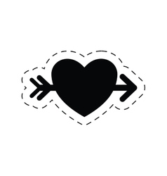 Romantic heart love arrow pictogram vector