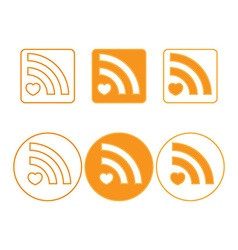 rss icons of round and square shapes orange vector image