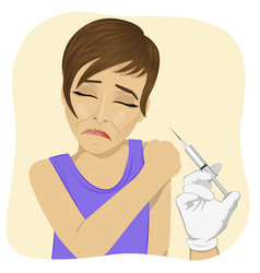 sad young woman getting vaccination procedure vector image