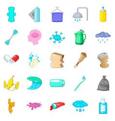 Scrubbing icons set cartoon style vector