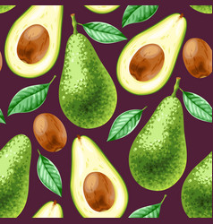 seamless background with avocado vector image
