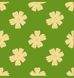 Seamless pattern with chamomile flowers on green vector