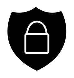 Security shield with lock silhouette icon 48x48 vector