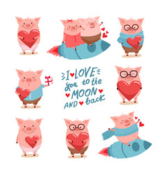 set of cute cartoon valentines pigs with hearts vector image