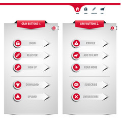 set of gray web buttons vector image
