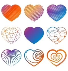 Set of heart shapes icons vector
