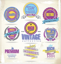 Set of vintage premium quality labels retro colors vector image