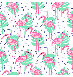 Summer pop art flamingo and palm tropic branches vector
