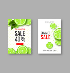 Summer sale banners with sliced lime pieces vector