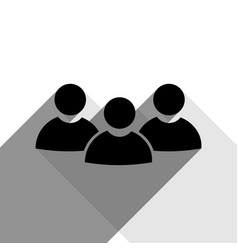 Team work sign black icon with two flat vector