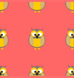 tile pattern with owls on pink background vector image