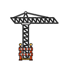 tower construction with barrier warning vector image