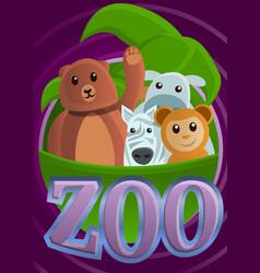 Tropical zoo concept banner cartoon style vector