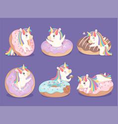 Unicorn dessert magic cute little rose pony vector