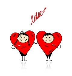 Valentine day Funny hearts together for your vector image vector image
