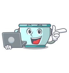 With laptop steel pot character cartoon vector