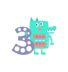 Wolf Standing Next To Number Three Stylized Funky vector image