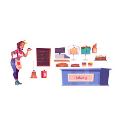 Woman chef and bakery shop interior set vector