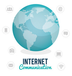 world planet with internet connection icons vector image
