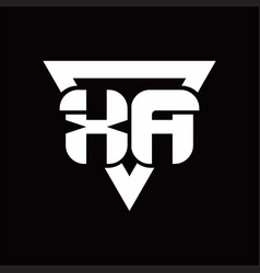 Xa logo monogram with triangle shape rounded vector