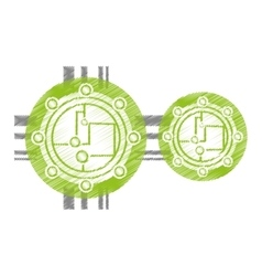 drawing circuit electronic sphere hardware vector image vector image