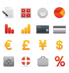 finance icons red vector image vector image