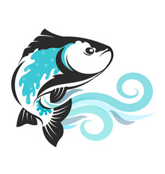fish on blue waves silhouetted vector image vector image