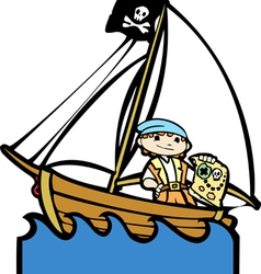 Pirate Boat with Boy vector image vector image