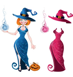 Pretty witch with fierball in blue dress and pink vector image