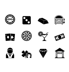 Silhouette casino and gambling icons vector image