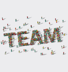 team work big group people vector image