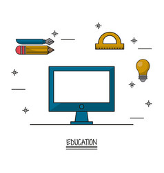 White background poster of education with computer vector