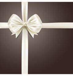 white silky bow ribbon vector image vector image