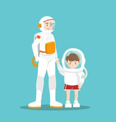 Astronaut and kid on sky blue vector
