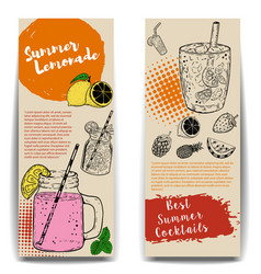 cocktails flyers templates on wooden background vector image