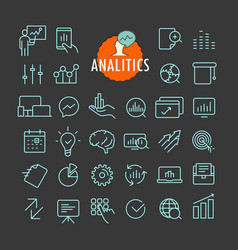 different analitics icons collection web and vector image