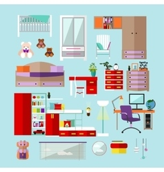 Kids bedroom interior objects in flat style vector image vector image