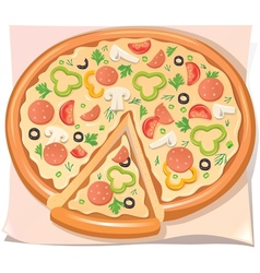 Pizza with salami cheese and vegetables vector image vector image