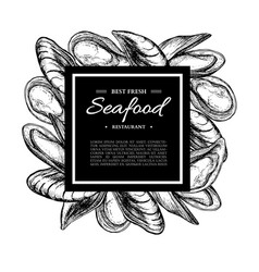 seafood hand drawn mussel and oyster framed vector image vector image