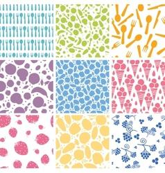Set of nine food seamless patterns backgrounds vector image
