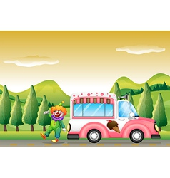 The clown and the pink icecream bus vector image