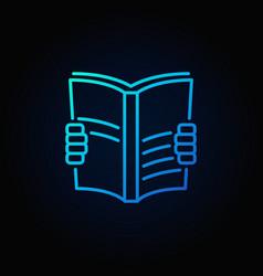book read blue icon vector image vector image