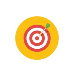 Goal icon target symbol in flat style - round vector