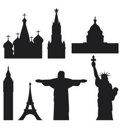 international historical landmark monuments vector image