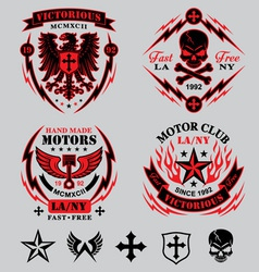 motorcycle emblems vector image vector image