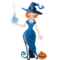 Pretty witch with fireball in blue dress and vector image vector image