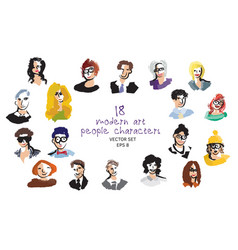 set modern art people faces icon character vector image
