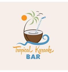 tropical karaoke bar design template vector image